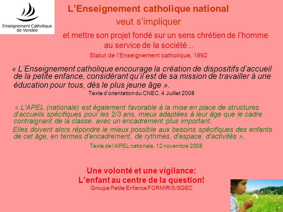 LEnseignement catholique national veut simpliquer et mettre son projet fondé sur un sens chrétien de lhomme au service de la société... Statut de lEns
