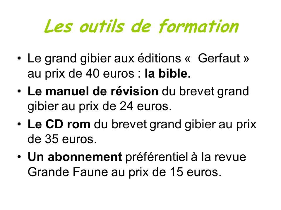 Le grand gibier aux éditions « Gerfaut » au prix de 40 euros : la bible. Le manuel de révision du brevet grand gibier au prix de 24 euros. Le CD rom d