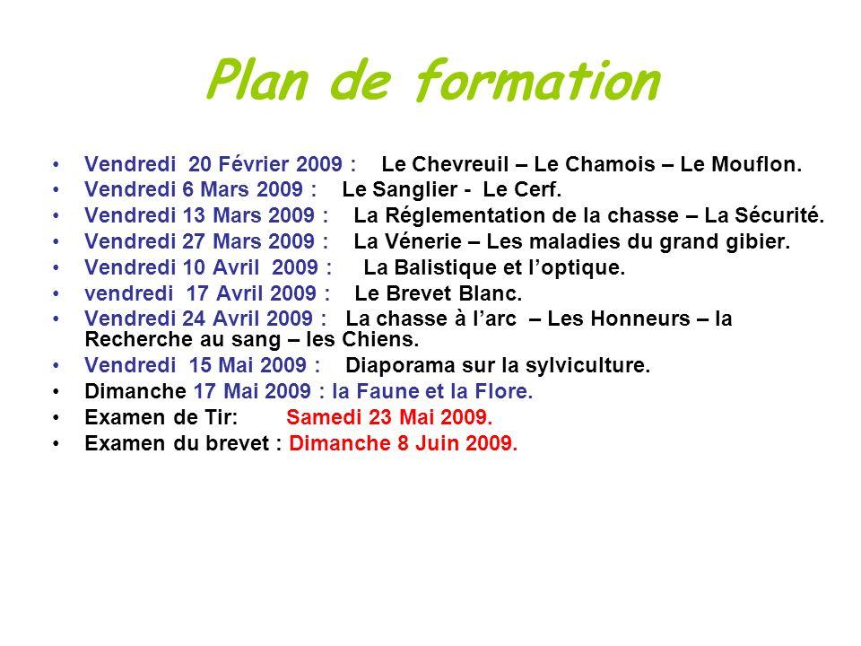 Plan de formation Vendredi 20 Février 2009 : Le Chevreuil – Le Chamois – Le Mouflon. Vendredi 6 Mars 2009 : Le Sanglier - Le Cerf. Vendredi 13 Mars 20