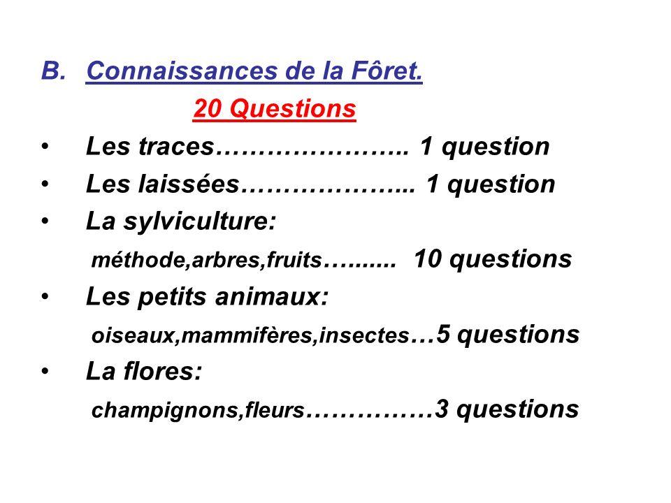 B.Connaissances de la Fôret. 20 Questions Les traces………………….. 1 question Les laissées………………... 1 question La sylviculture: méthode,arbres,fruits …....