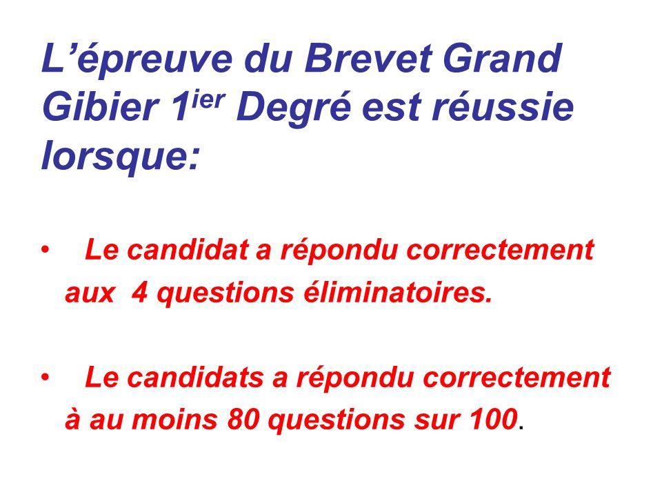Lépreuve du Brevet Grand Gibier 1 ier Degré est réussie lorsque: Le candidat a répondu correctement aux 4 questions éliminatoires. Le candidats a répo