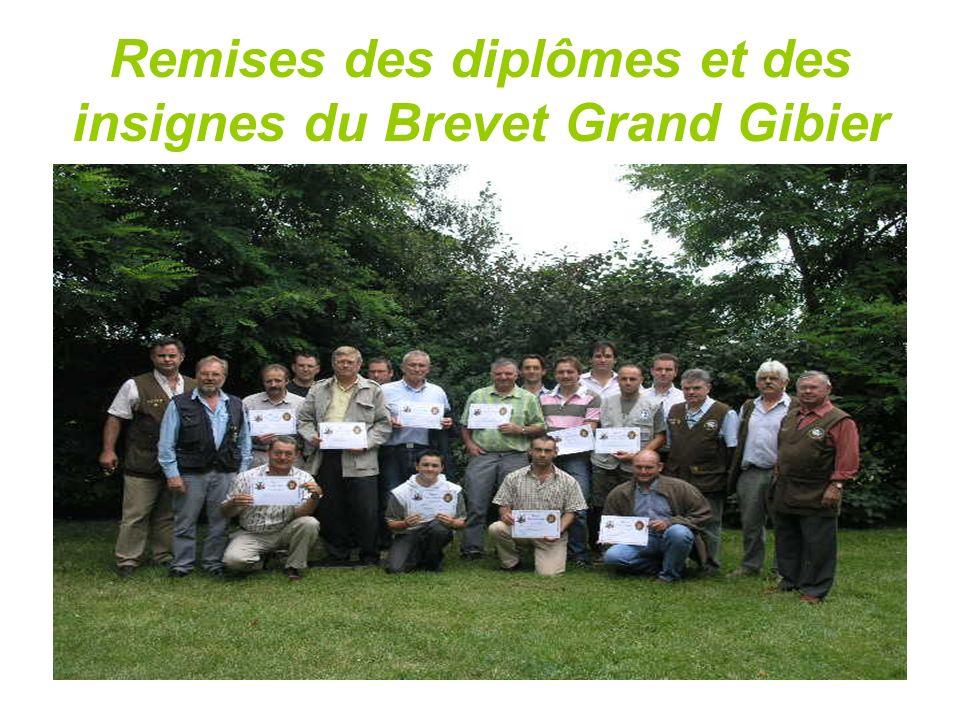 Remises des diplômes et des insignes du Brevet Grand Gibier