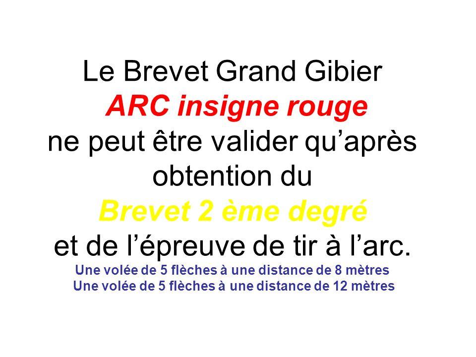 Le Brevet Grand Gibier ARC insigne rouge ne peut être valider quaprès obtention du Brevet 2 ème degré et de lépreuve de tir à larc. Une volée de 5 flè