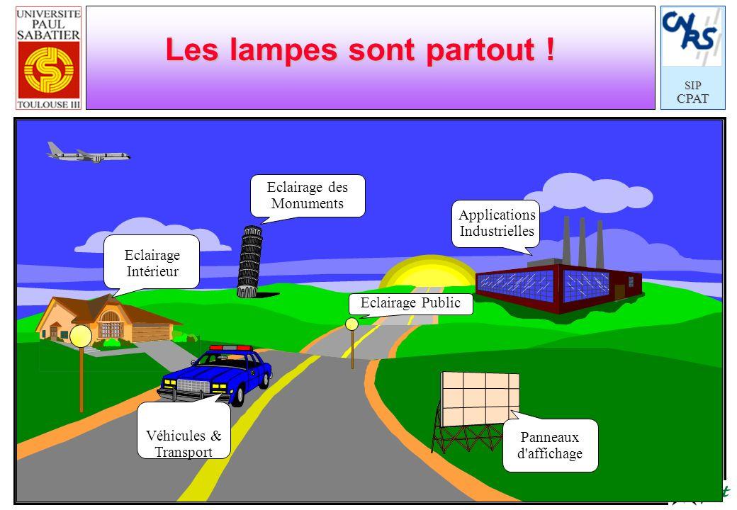 SIPCPAT Les lampes sont partout ! Eclairage Intérieur Applications Industrielles Véhicules & Transport Panneaux d'affichage Eclairage Public Eclairage