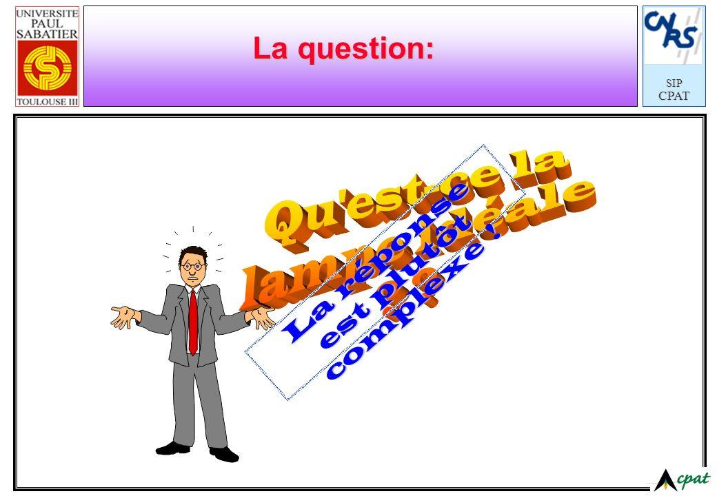 SIPCPAT La question: La réponse est plutôt complexe !