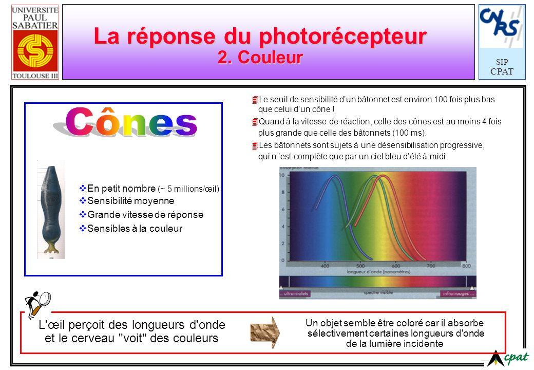 SIPCPAT Puissance émise P r ( ) Spectre I Quelques définitions (la source de lumière) Puissance électrique P in Efficacité électrique (%) : Efficacité lumineuse (lm/W) : : Indice Rendu Couleurs IRC Temp.
