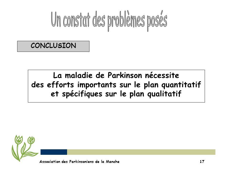 CONCLUSION Association des Parkinsoniens de la Manche17 La maladie de Parkinson nécessite des efforts importants sur le plan quantitatif et spécifique
