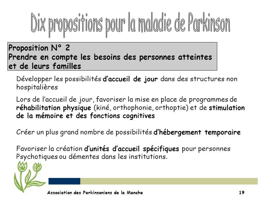 Proposition N° 2 Prendre en compte les besoins des personnes atteintes et de leurs familles Association des Parkinsoniens de la Manche19 Développer le