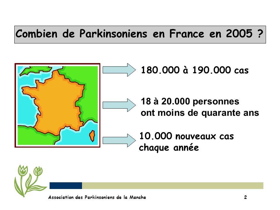 Combien de Parkinsoniens en France en 2005 ? 10.000 nouveaux cas chaque année 180.000 à 190.000 cas 18 à 20.000 personnes ont moins de quarante ans As