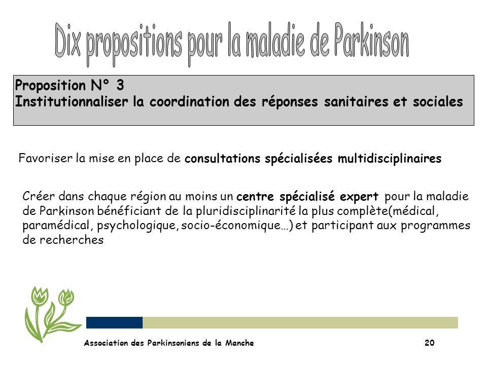 Proposition N° 3 Institutionnaliser la coordination des réponses sanitaires et sociales Association des Parkinsoniens de la Manche20 Favoriser la mise