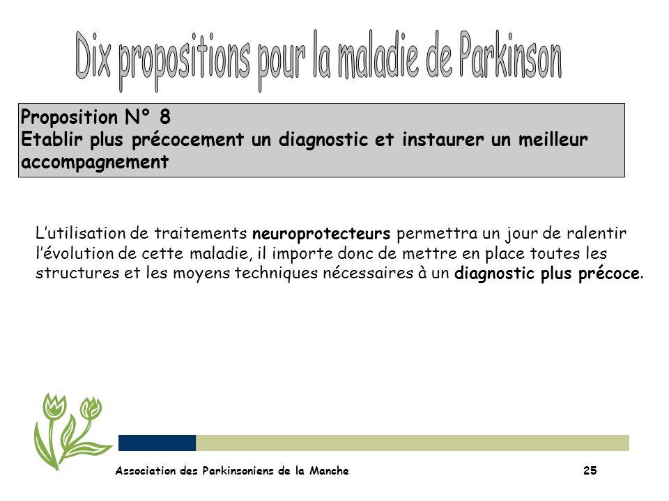 Proposition N° 8 Etablir plus précocement un diagnostic et instaurer un meilleur accompagnement Association des Parkinsoniens de la Manche25 Lutilisat