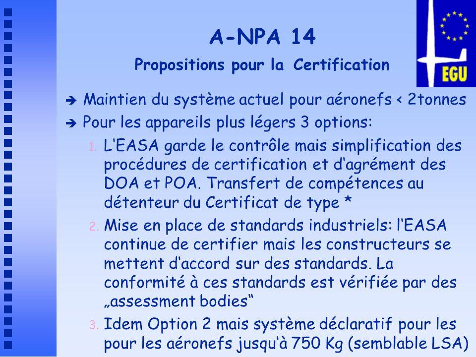 A-NPA 14 Propositions pour lEntretien et les Ops è Entretien 3 Options: 1.