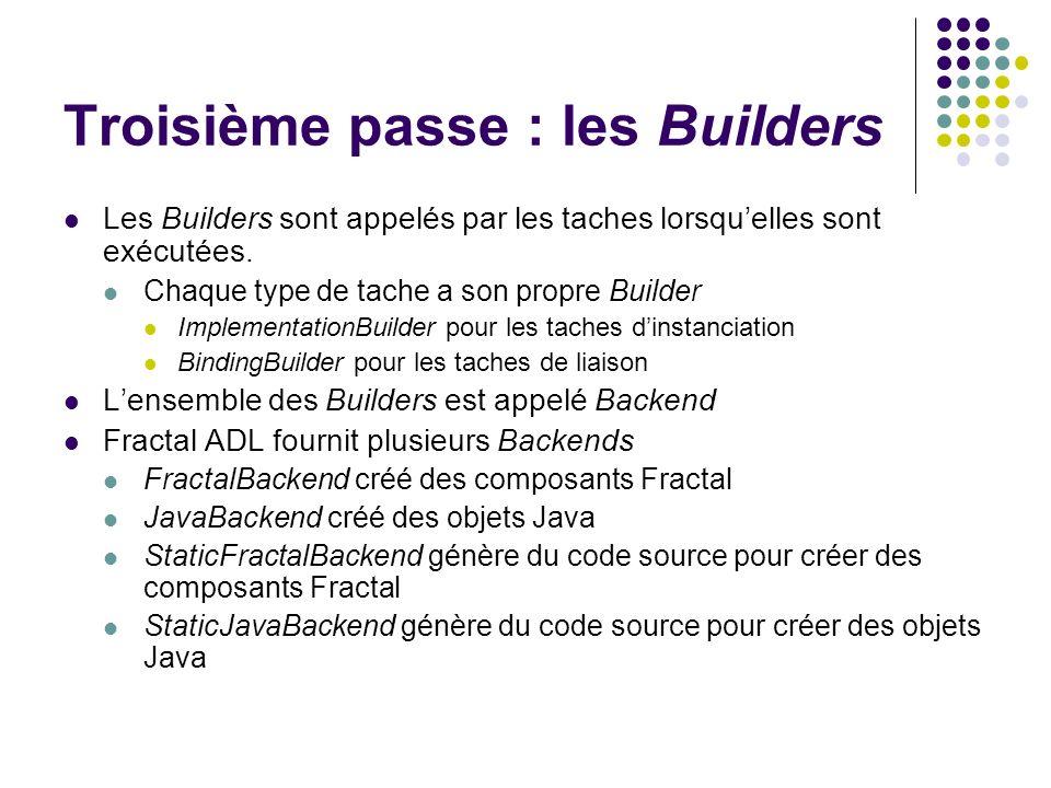 Troisième passe : les Builders Les Builders sont appelés par les taches lorsquelles sont exécutées. Chaque type de tache a son propre Builder Implemen