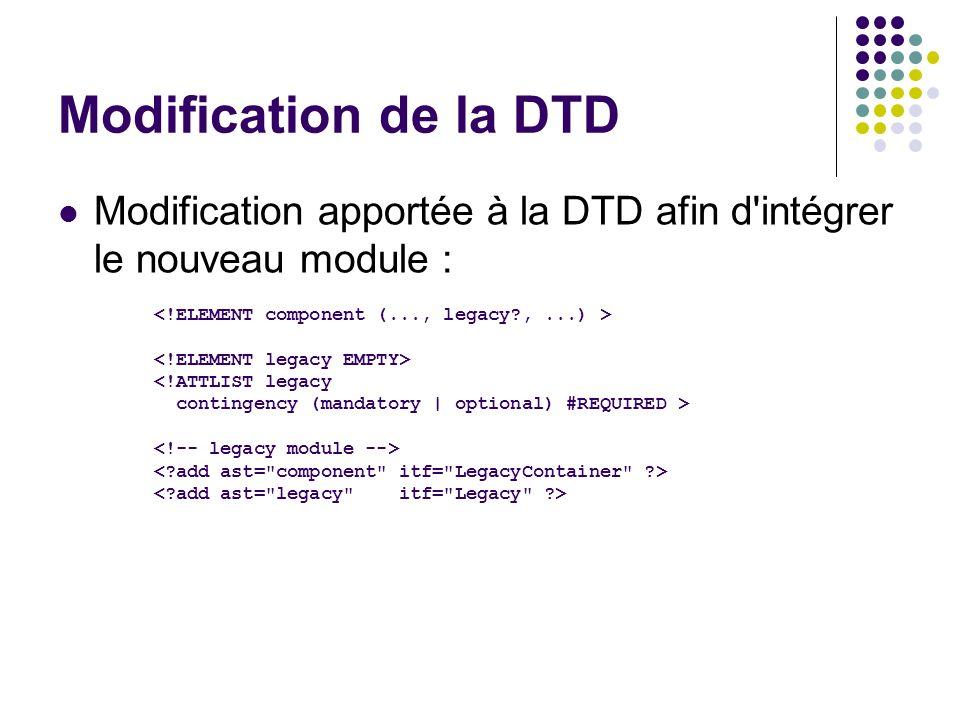 Modification de la DTD Modification apportée à la DTD afin d'intégrer le nouveau module : <!ATTLIST legacy contingency (mandatory | optional) #REQUIRE