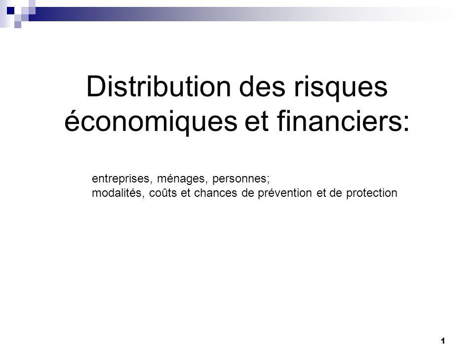 1 Distribution des risques économiques et financiers: entreprises, ménages, personnes; modalités, coûts et chances de prévention et de protection