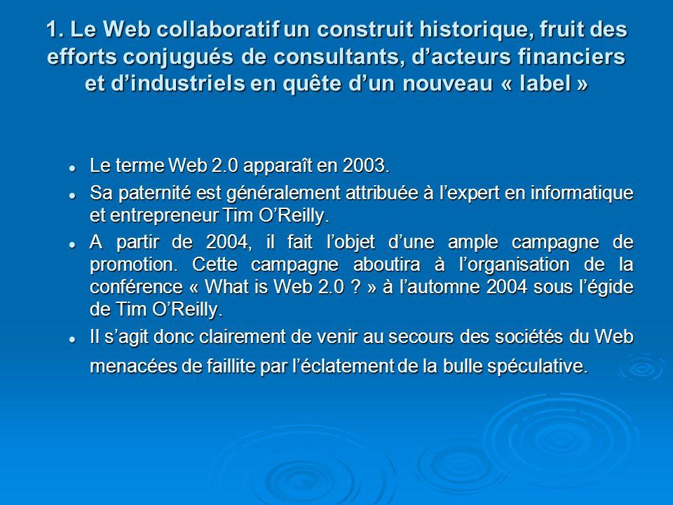 La construction progressive de la notion de Web 2.0 sest notamment faite en étudiant les caractéristiques des sociétés qui ont survécu au crash.