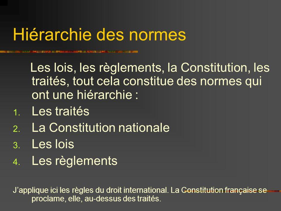 Hiérarchie des normes Les lois, les règlements, la Constitution, les traités, tout cela constitue des normes qui ont une hiérarchie : 1. Les traités 2