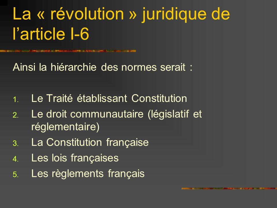 Ainsi la hiérarchie des normes serait : 1. Le Traité établissant Constitution 2. Le droit communautaire (législatif et réglementaire) 3. La Constituti