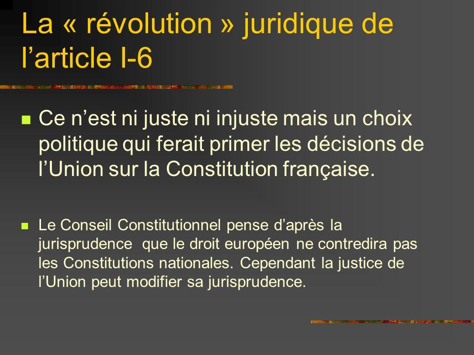 Ce nest ni juste ni injuste mais un choix politique qui ferait primer les décisions de lUnion sur la Constitution française. Le Conseil Constitutionne