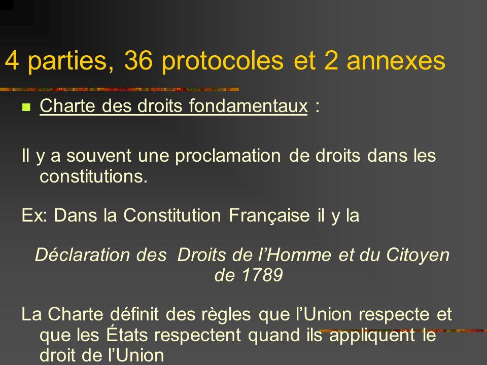 4 parties, 36 protocoles et 2 annexes Charte des droits fondamentaux : Il y a souvent une proclamation de droits dans les constitutions. Ex: Dans la C