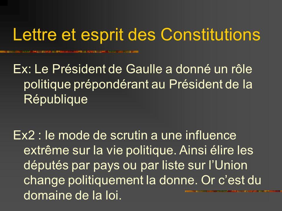 Lettre et esprit des Constitutions Ex: Le Président de Gaulle a donné un rôle politique prépondérant au Président de la République Ex2 : le mode de sc