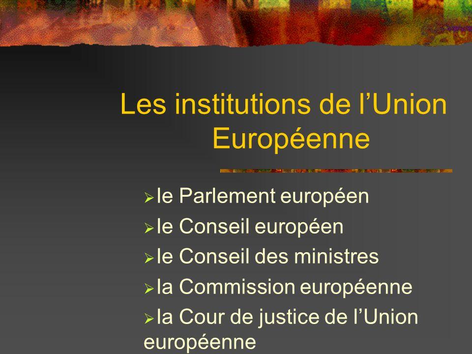 Les institutions de lUnion Européenne le Parlement européen le Conseil européen le Conseil des ministres la Commission européenne la Cour de justice d