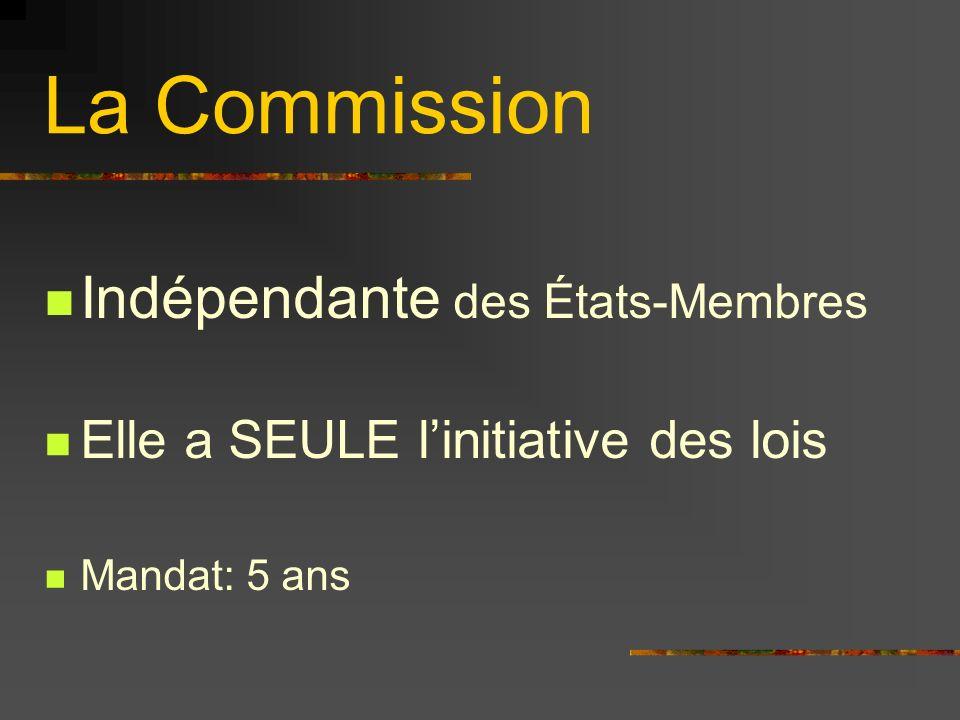 La Commission Indépendante des États-Membres Elle a SEULE linitiative des lois Mandat: 5 ans