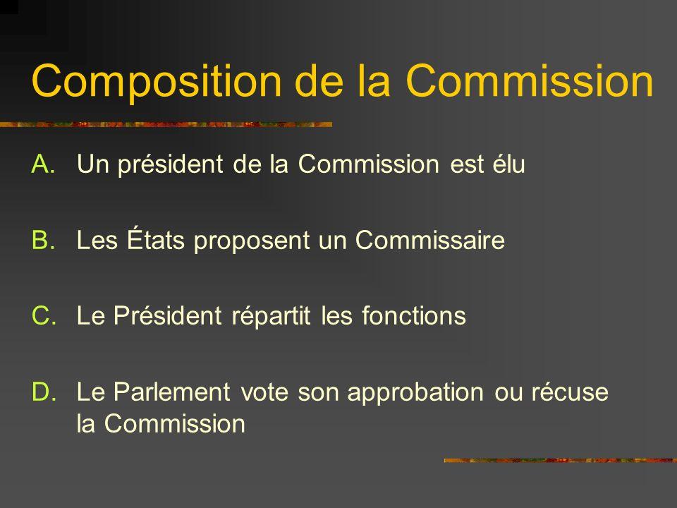 Composition de la Commission A.Un président de la Commission est élu B.Les États proposent un Commissaire C.Le Président répartit les fonctions D.Le P