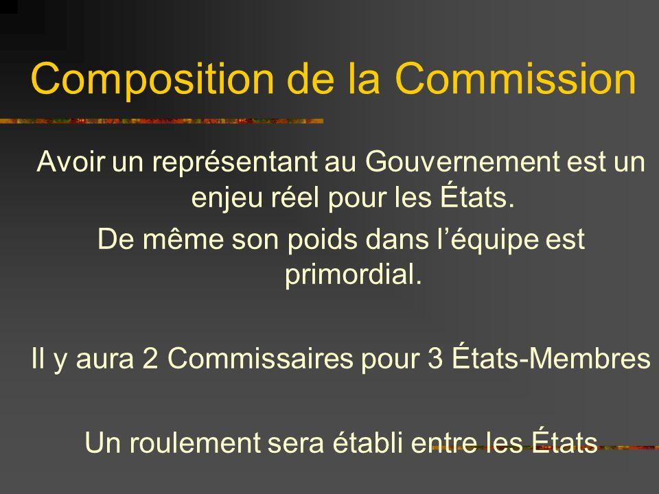 Composition de la Commission Avoir un représentant au Gouvernement est un enjeu réel pour les États. De même son poids dans léquipe est primordial. Il