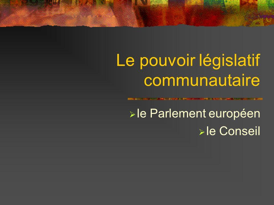 Le pouvoir législatif communautaire le Parlement européen le Conseil