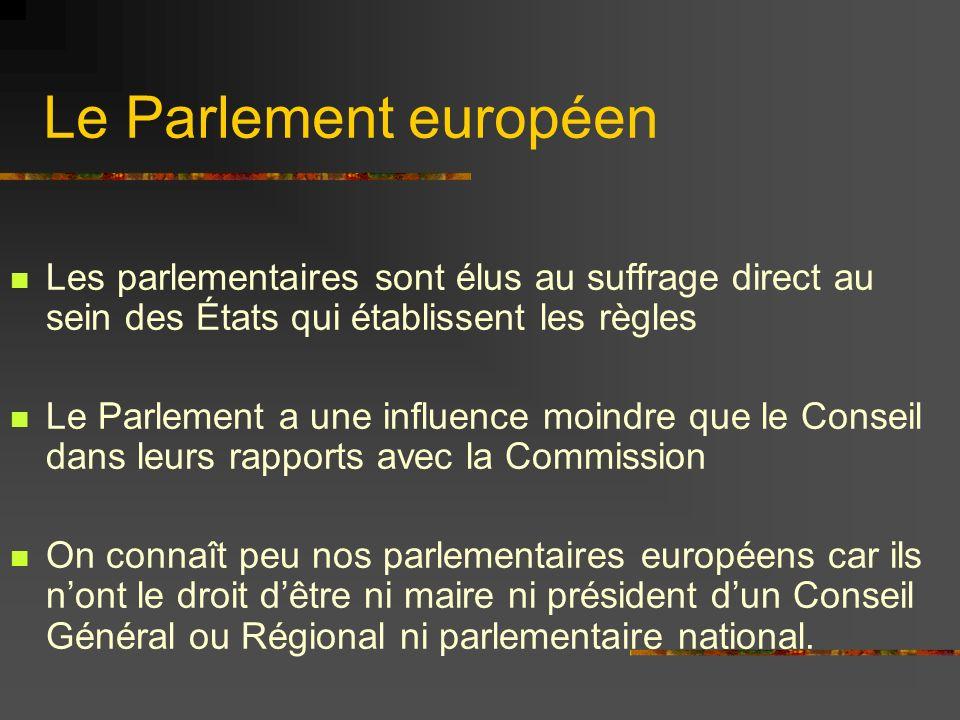 Le Parlement européen Les parlementaires sont élus au suffrage direct au sein des États qui établissent les règles Le Parlement a une influence moindr
