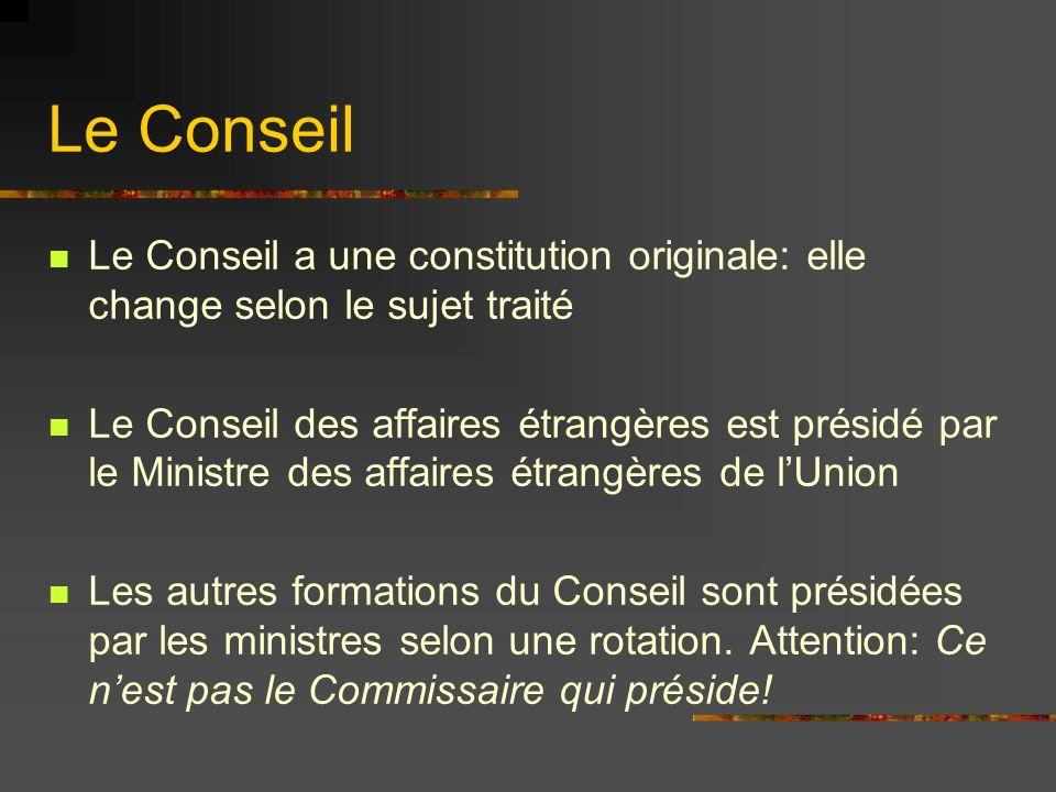 Le Conseil Le Conseil a une constitution originale: elle change selon le sujet traité Le Conseil des affaires étrangères est présidé par le Ministre d