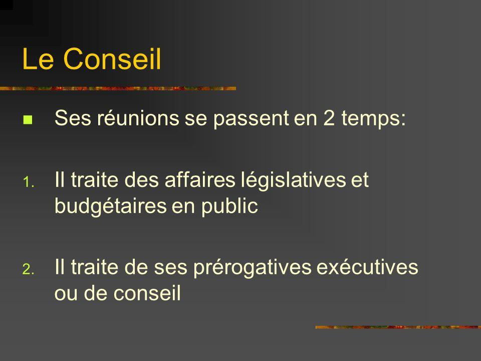 Le Conseil Ses réunions se passent en 2 temps: 1. Il traite des affaires législatives et budgétaires en public 2. Il traite de ses prérogatives exécut