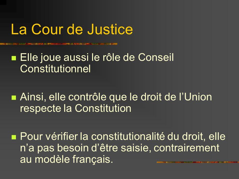 La Cour de Justice Elle joue aussi le rôle de Conseil Constitutionnel Ainsi, elle contrôle que le droit de lUnion respecte la Constitution Pour vérifi
