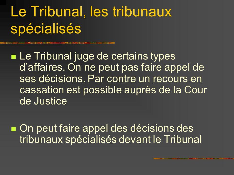 Le Tribunal, les tribunaux spécialisés Le Tribunal juge de certains types daffaires. On ne peut pas faire appel de ses décisions. Par contre un recour