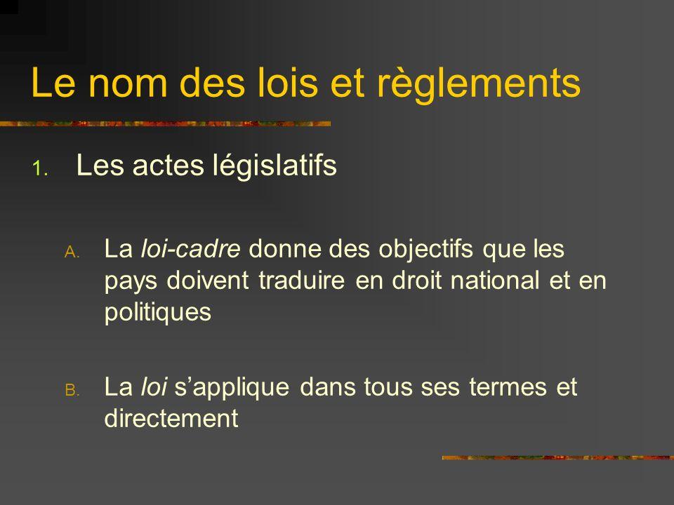 Le nom des lois et règlements 1. Les actes législatifs A. La loi-cadre donne des objectifs que les pays doivent traduire en droit national et en polit