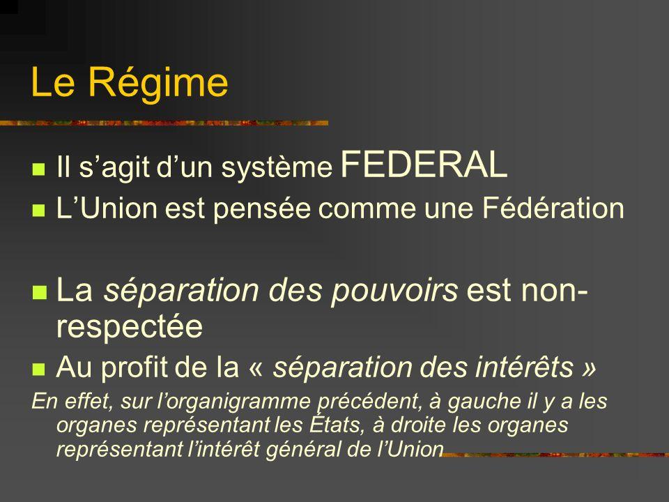 Le Régime Il sagit dun système FEDERAL LUnion est pensée comme une Fédération La séparation des pouvoirs est non- respectée Au profit de la « séparati
