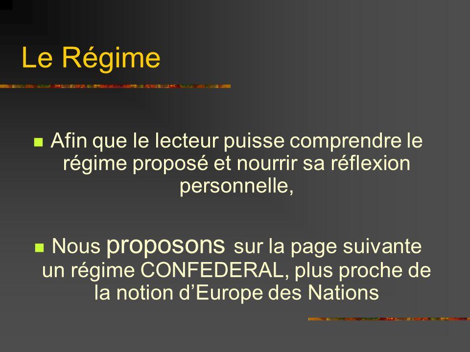 Le Régime Afin que le lecteur puisse comprendre le régime proposé et nourrir sa réflexion personnelle, Nous proposons sur la page suivante un régime C