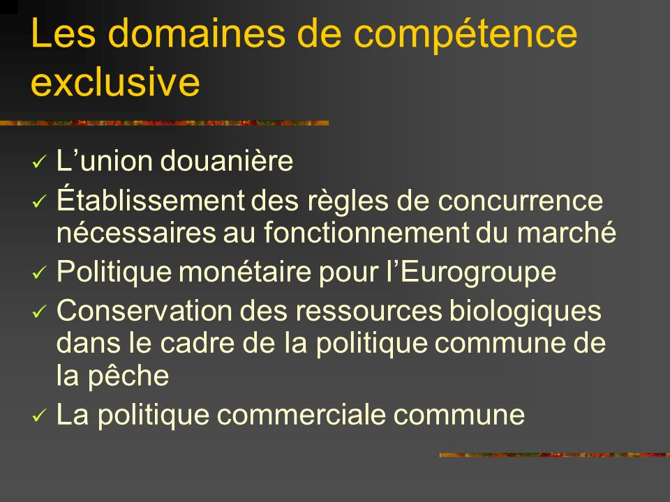 Les domaines de compétence exclusive Lunion douanière Établissement des règles de concurrence nécessaires au fonctionnement du marché Politique monéta