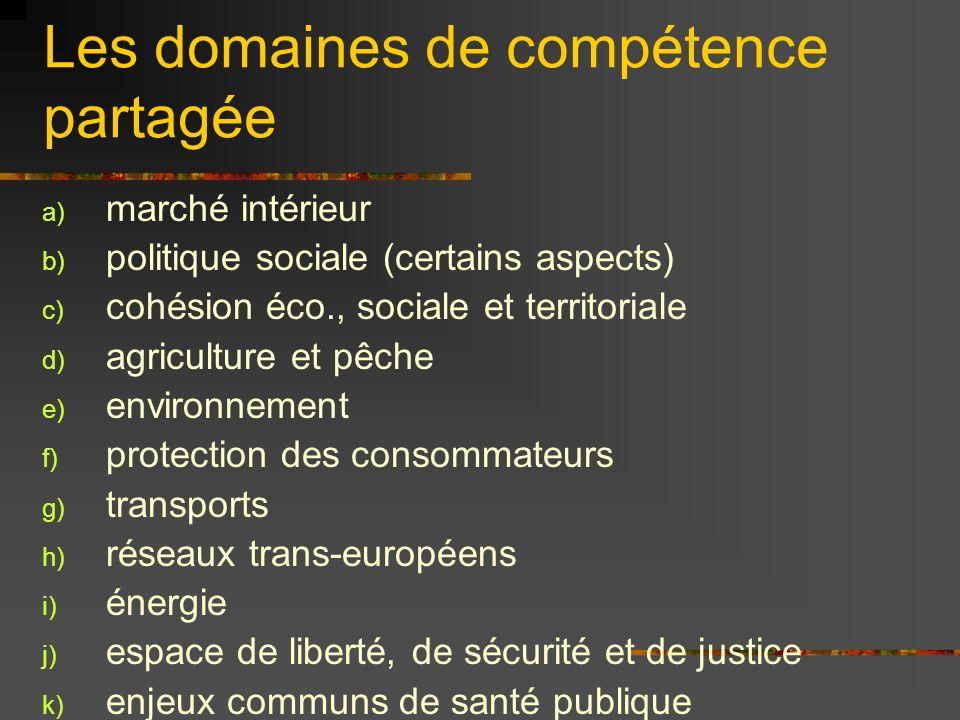 Les domaines de compétence partagée a) marché intérieur b) politique sociale (certains aspects) c) cohésion éco., sociale et territoriale d) agricultu