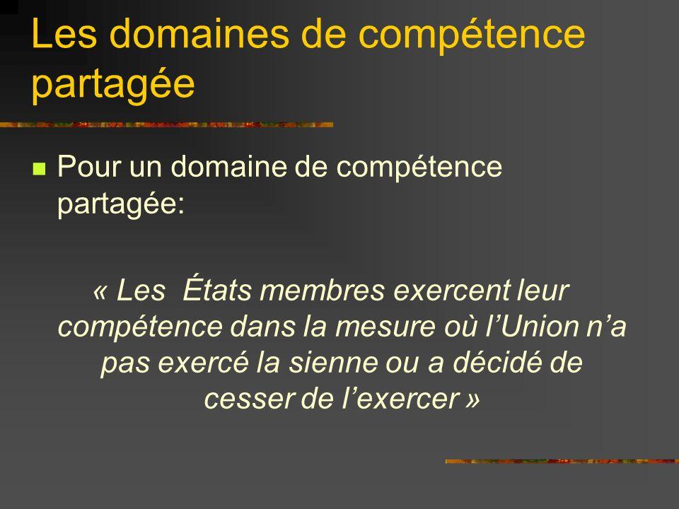 Les domaines de compétence partagée Pour un domaine de compétence partagée: « Les États membres exercent leur compétence dans la mesure où lUnion na p