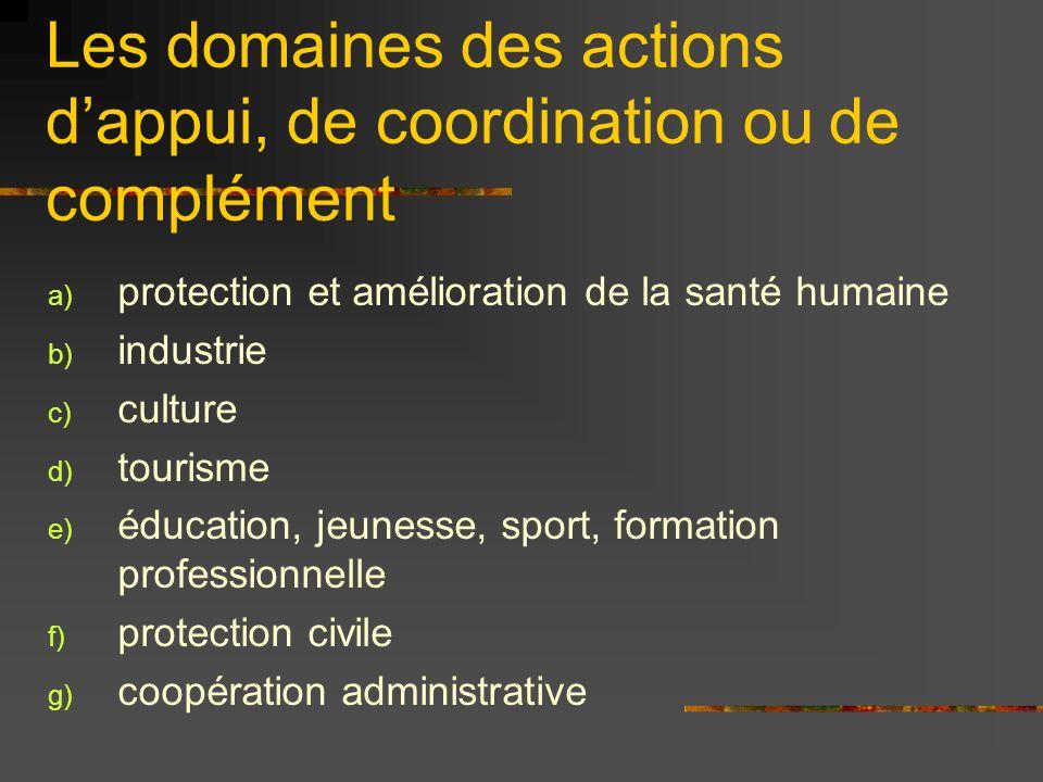 Les domaines des actions dappui, de coordination ou de complément a) protection et amélioration de la santé humaine b) industrie c) culture d) tourism