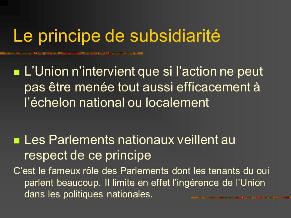 Le principe de subsidiarité LUnion nintervient que si laction ne peut pas être menée tout aussi efficacement à léchelon national ou localement Les Par