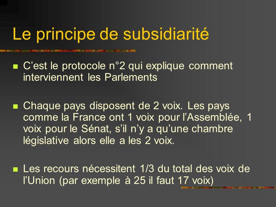Le principe de subsidiarité Cest le protocole n°2 qui explique comment interviennent les Parlements Chaque pays disposent de 2 voix. Les pays comme la