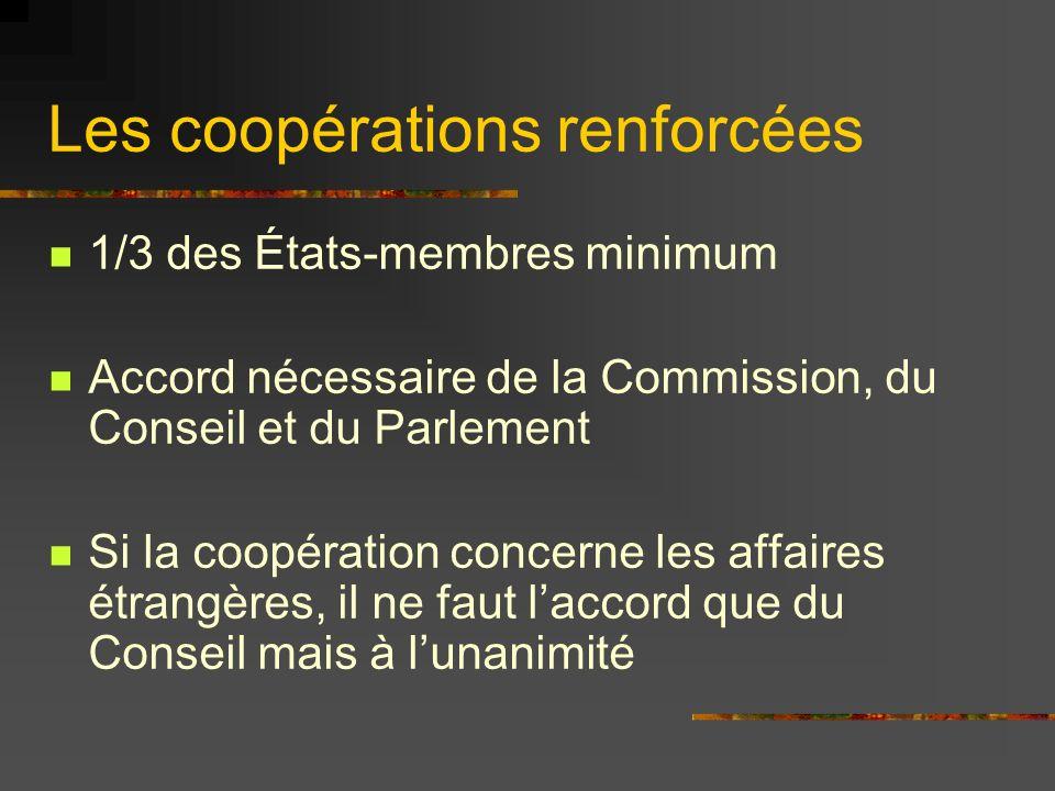 Les coopérations renforcées 1/3 des États-membres minimum Accord nécessaire de la Commission, du Conseil et du Parlement Si la coopération concerne le