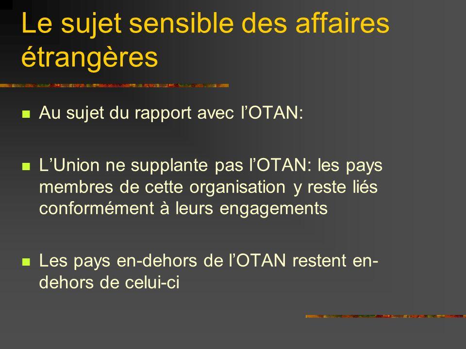 Le sujet sensible des affaires étrangères Au sujet du rapport avec lOTAN: LUnion ne supplante pas lOTAN: les pays membres de cette organisation y rest