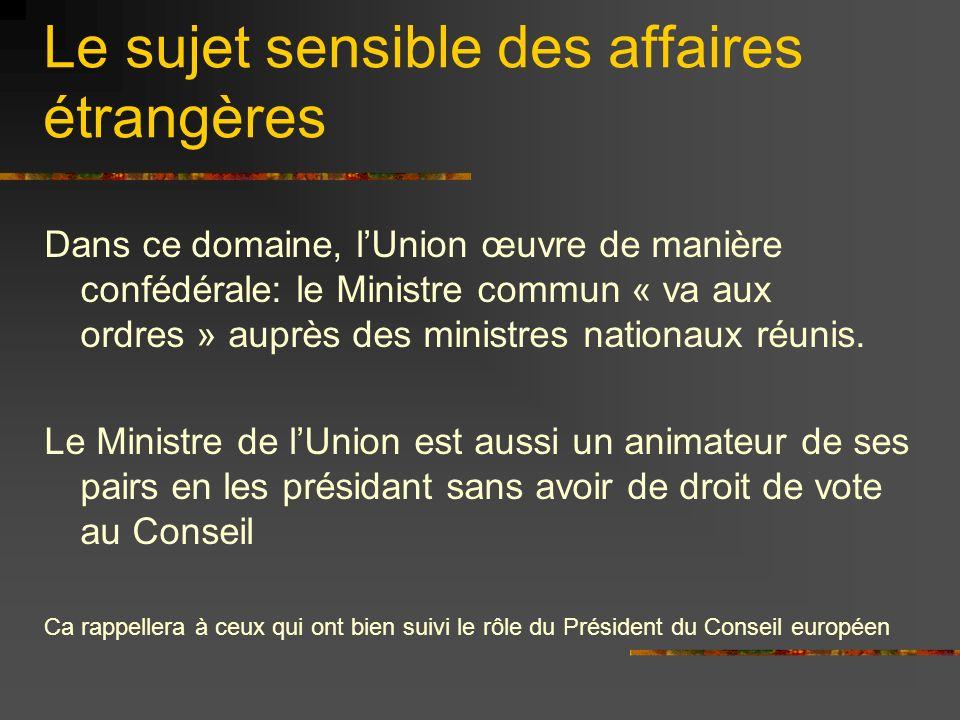 Le sujet sensible des affaires étrangères Dans ce domaine, lUnion œuvre de manière confédérale: le Ministre commun « va aux ordres » auprès des minist