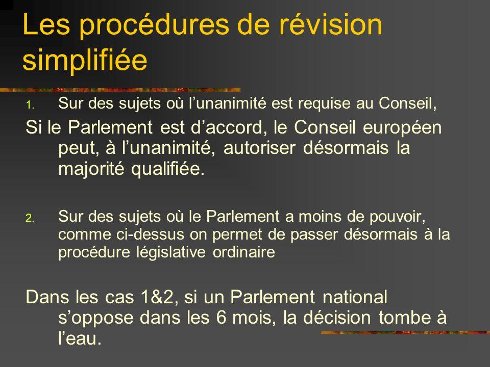 Les procédures de révision simplifiée 1. Sur des sujets où lunanimité est requise au Conseil, Si le Parlement est daccord, le Conseil européen peut, à