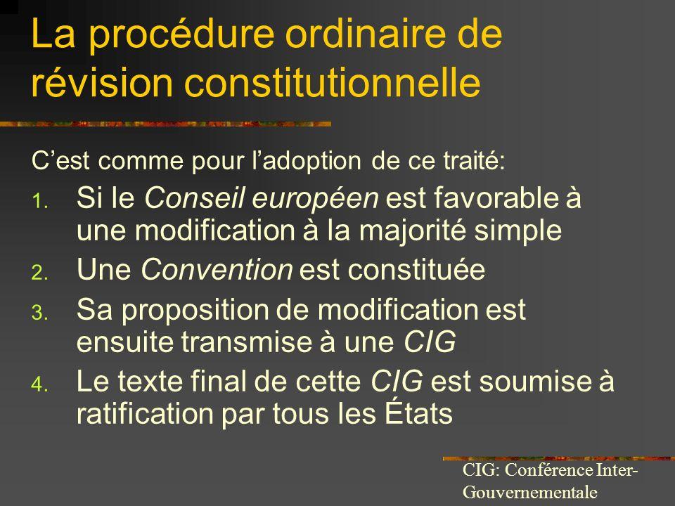 La procédure ordinaire de révision constitutionnelle Cest comme pour ladoption de ce traité: 1. Si le Conseil européen est favorable à une modificatio