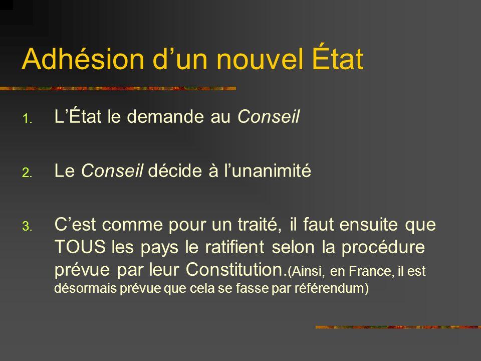 Adhésion dun nouvel État 1. LÉtat le demande au Conseil 2. Le Conseil décide à lunanimité 3. Cest comme pour un traité, il faut ensuite que TOUS les p